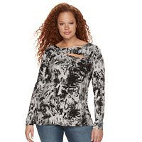 Plus Size Rock & Republic® Lace-Up Grommet Tee