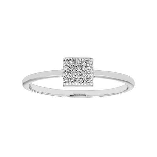 10k Gold Diamond Accent Square Ring