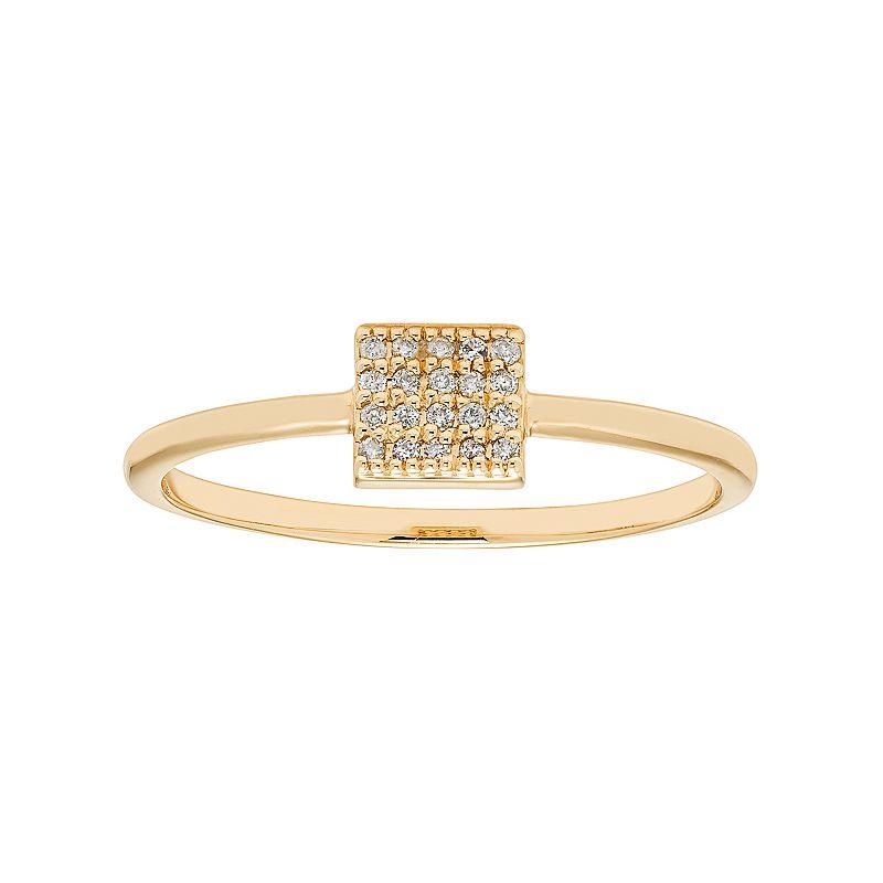 10k Gold Diamond Accent Square Ring, Women's, Size: 4, White