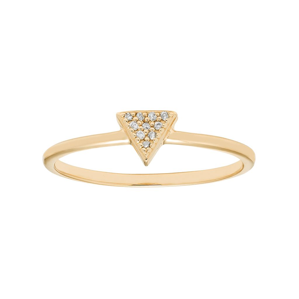 10k Gold Diamond Accent Triangle Ring