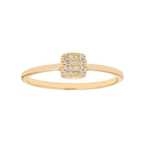 10k Gold Diamond Accent Cushion Ring