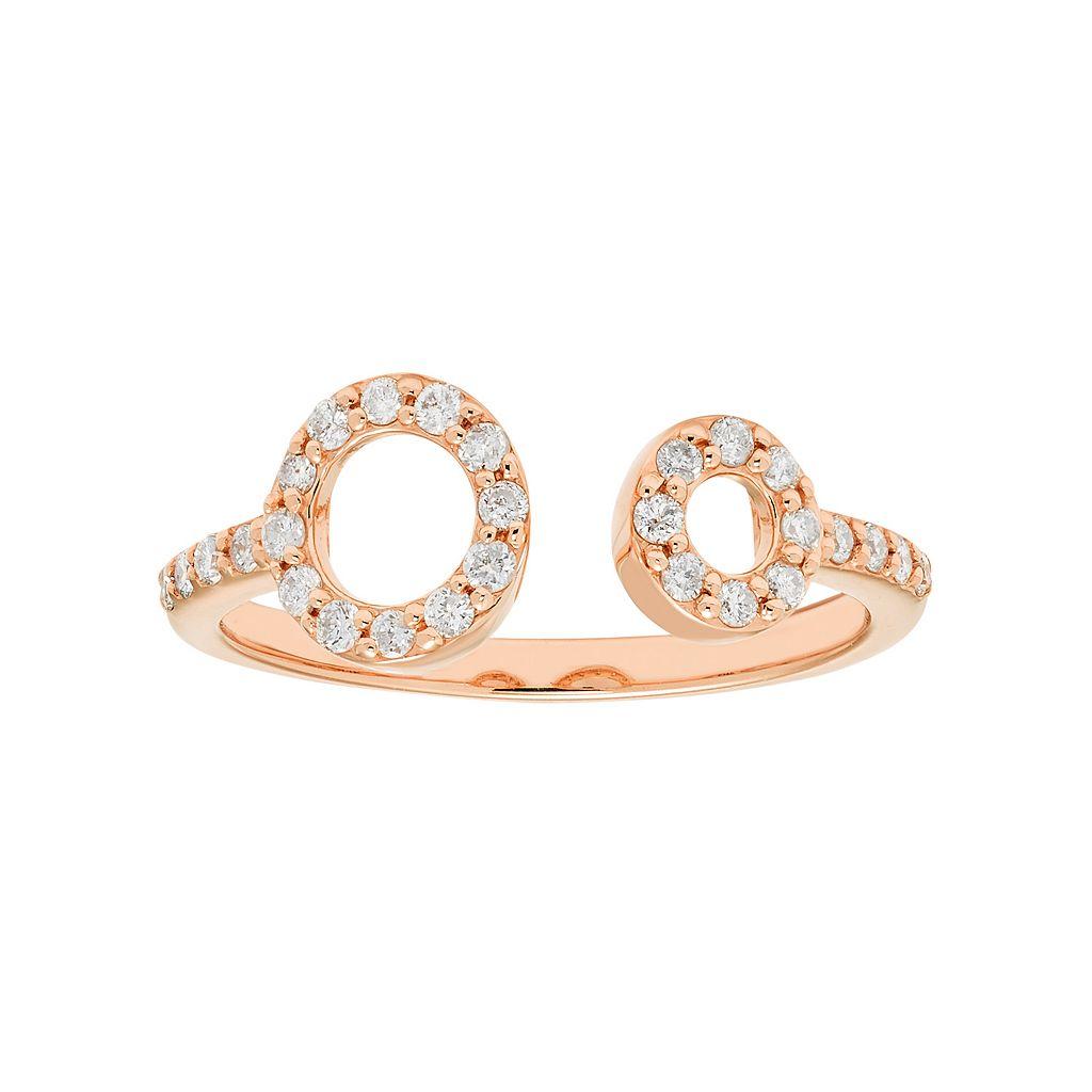 10k Gold 1/4 Carat T.W. Diamond Double Circle Ring