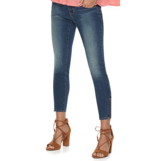 Women's Apt. 9® Faded Zipper Capri Jeans