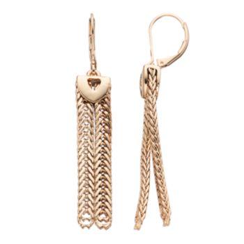 Napier Double Chain Linear Drop Earrings