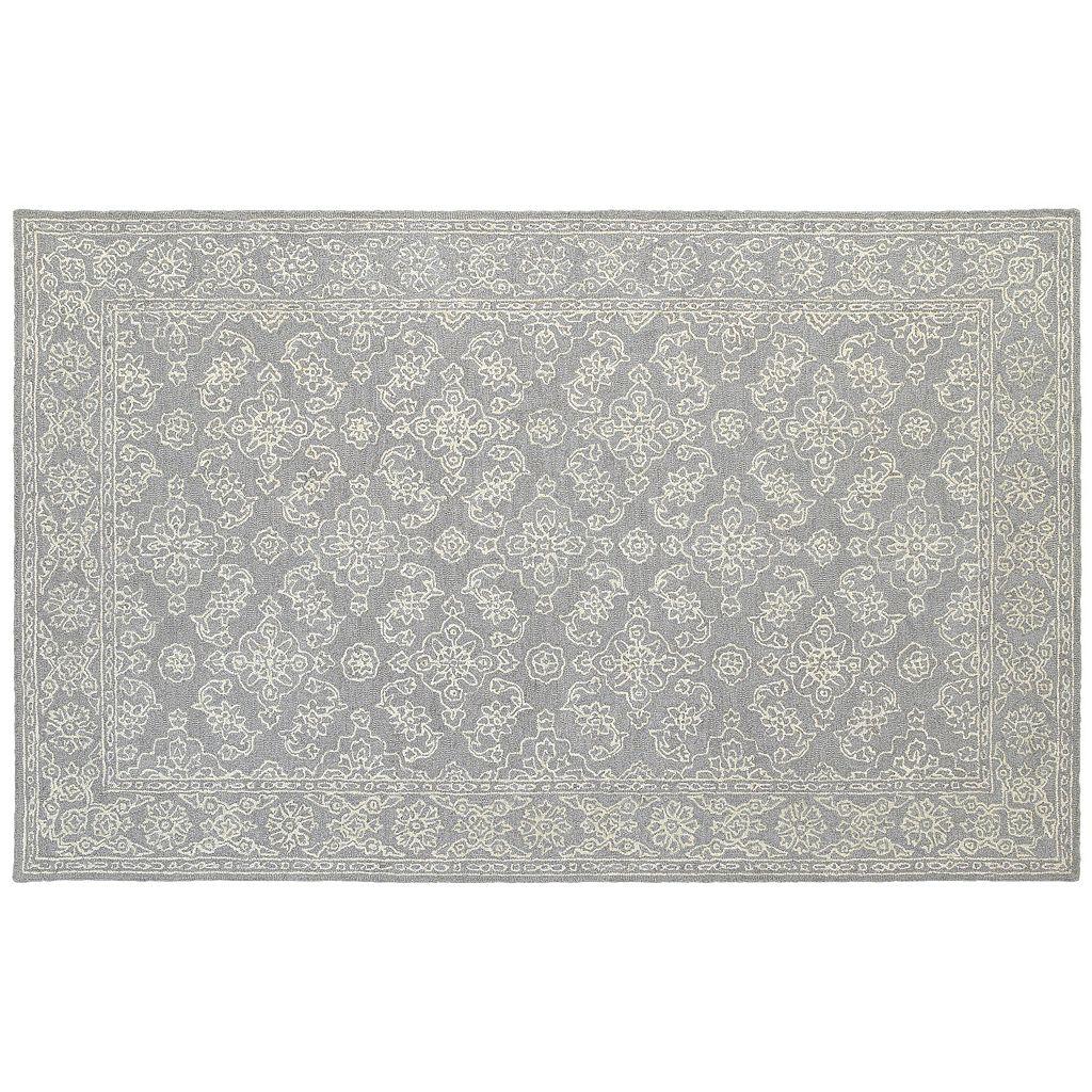 Oriental Weavers Manor Soothing Traditions Framed Floral Wool Rug