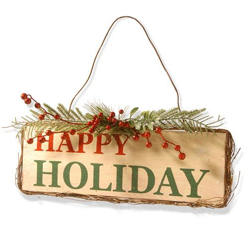 National Tree Company Happy Holiday Door Sign Wall Decor