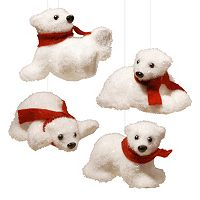National Tree Company Polar Bear Christmas Ornament 4 pc Set