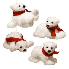 National Tree Company Polar Bear Christmas Ornament 4-piece Set