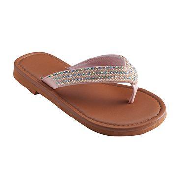 Girls 4-16 Rhinestone Flip Flops