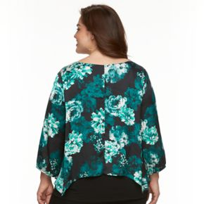 Plus Size AB Studio Floral Overlay Top
