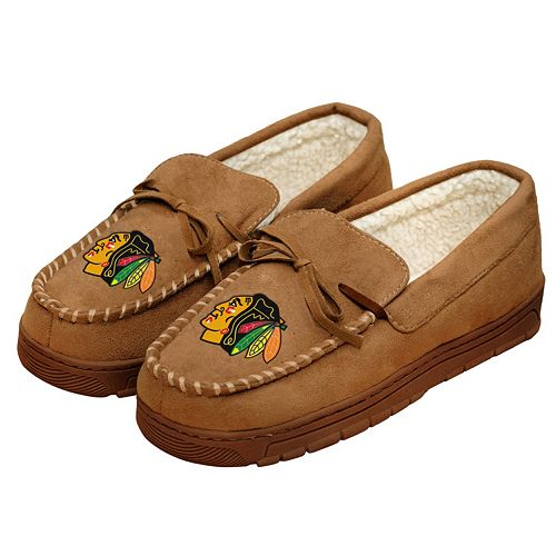 Men's Forever Collectibles Chicago Blackhawks Moccasin Slippers