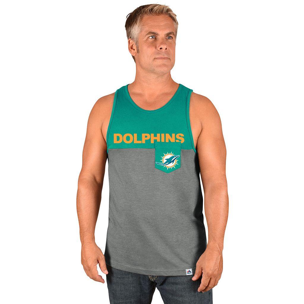 Men's Majestic Miami Dolphins Throw the Towel Tank
