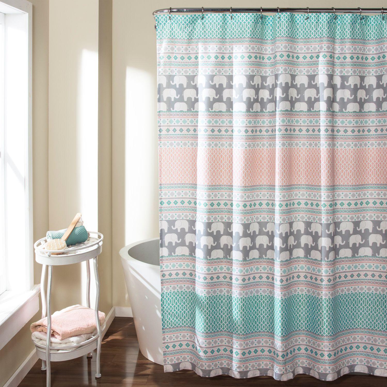 Lush Decor Elephant Stripe Shower Curtain