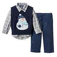 Toddler Boy Matt's Scooter Sweater Vest, Plaid Shirt & Corduroy Pants Set