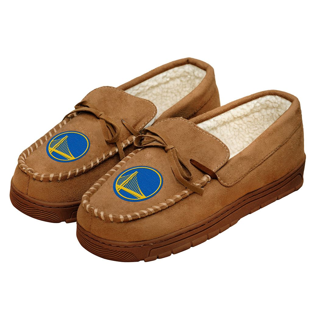 Men's Forever Collectibles Golden State Warriors Moccasin Slippers