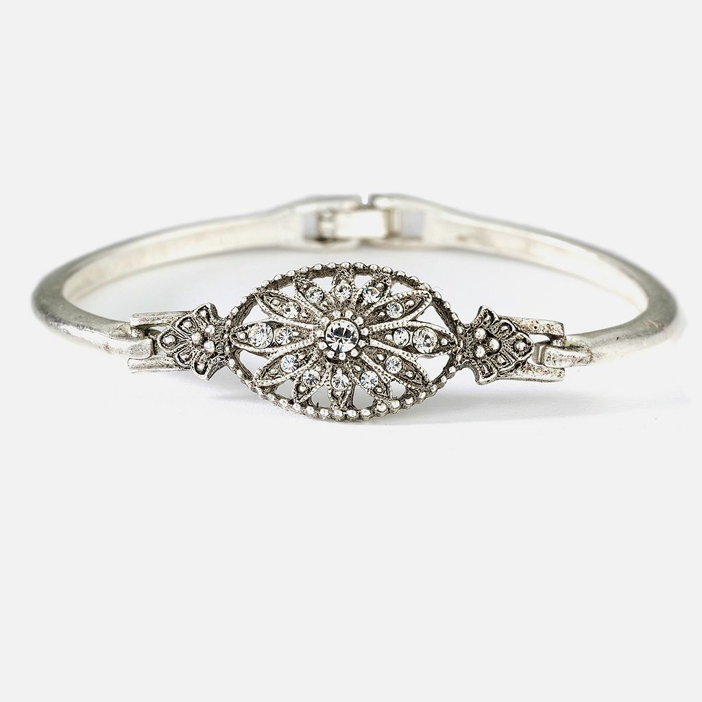 1928® Silver-Tone Simulated Crystal Floral Bracelet
