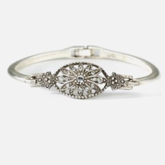 1928 Silver-Tone Simulated Crystal Floral Bracelet