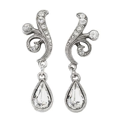 1928 Silver-Tone Simulated Crystal Swirl Drop Earrings