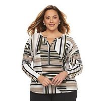 Plus Size Dana Buchman Splitneck Crepe Top