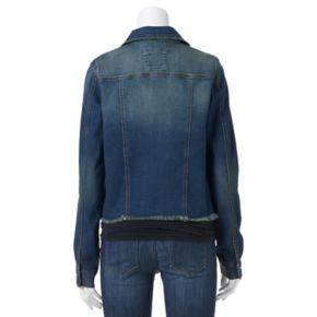 Juniors' Mudd® Frayed Hem Jean Jacket