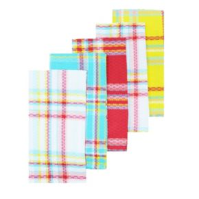 Celebrate Summer Together Brights Plaid Kitchen Towel 5-pk.