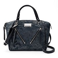 Juicy Couture Diagonal Zipper Denim Satchel