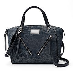 Juicy Couture Diagonal Zipper Denim Satchel by