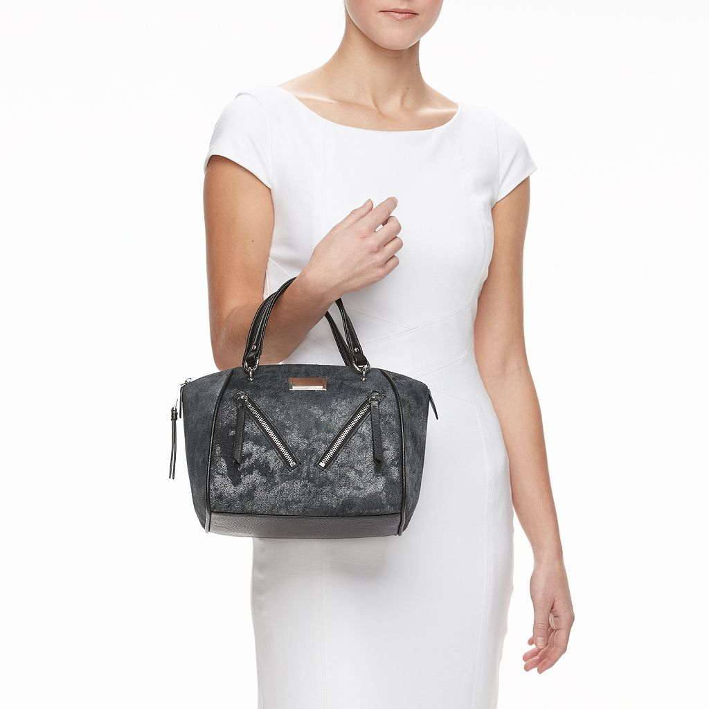 Juicy Couture Diagonal Zipper Denim Satchel