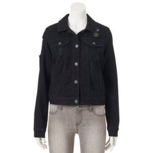 Juniors' Mudd® Ripped Black Jean Jacket