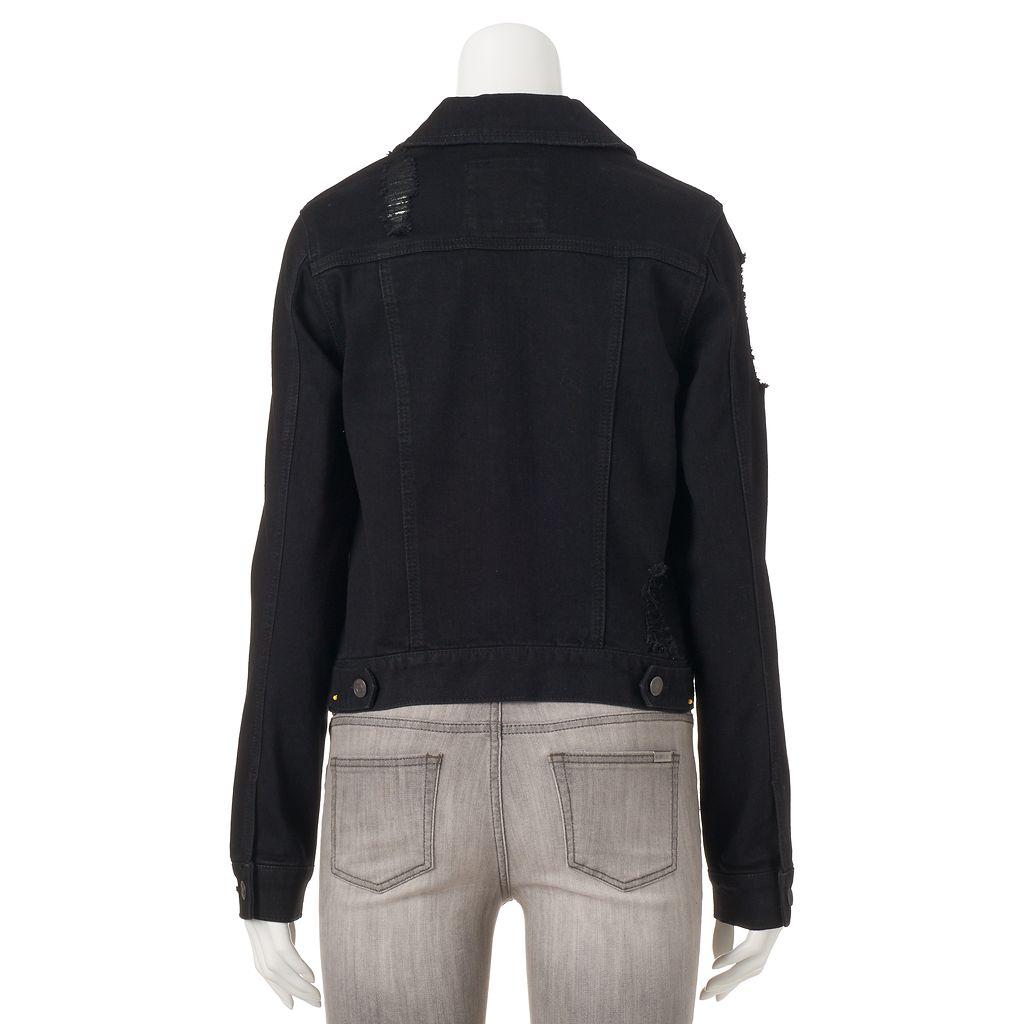 Juniors' Mudd® Ripped Black Jean Jacket