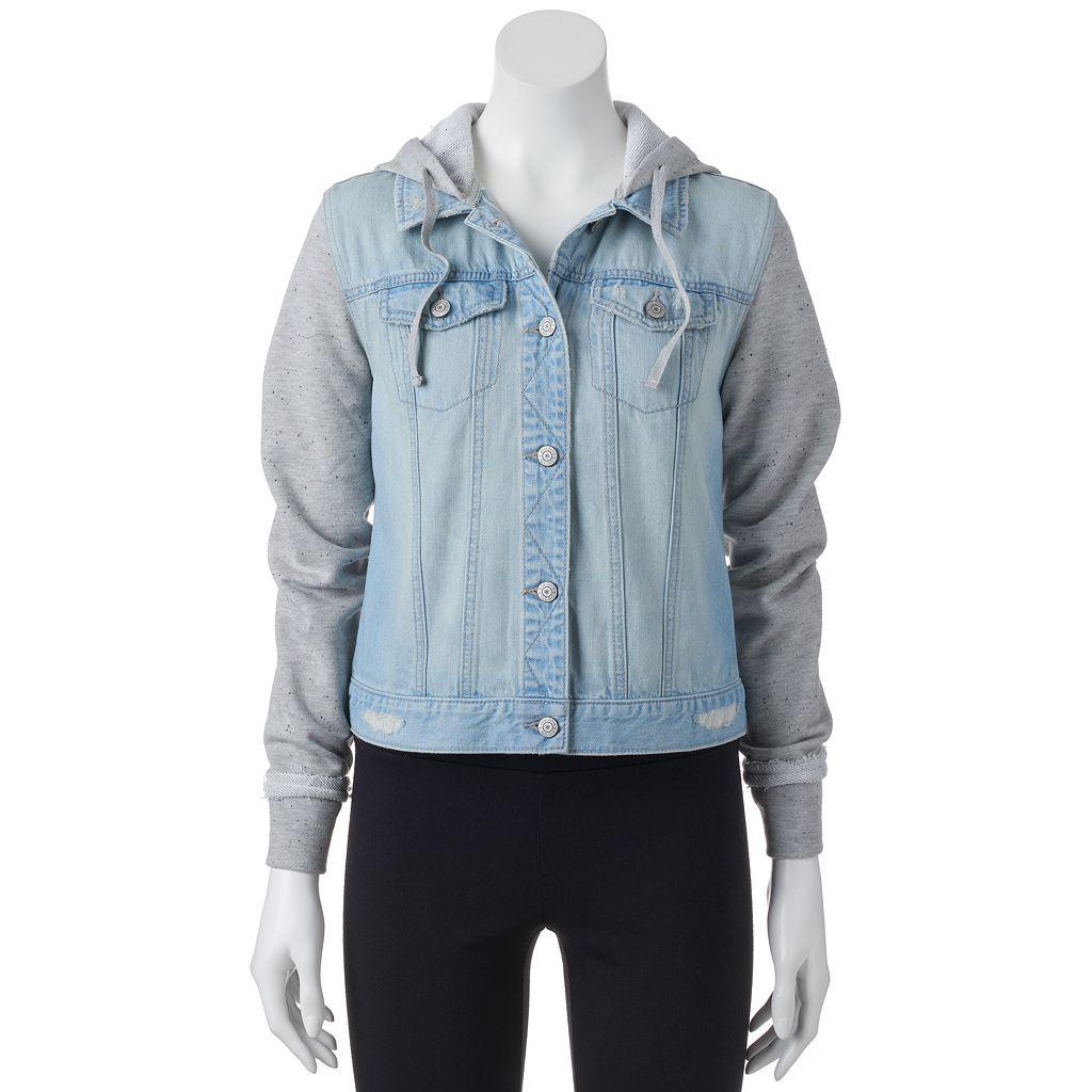 Juniors' Mudd® Hooded Knit Denim Jacket