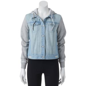 Juniors' Mudd® Hooded Knit Denim Jacket