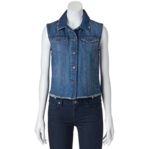 Juniors' Mudd® Fray Hem Denim Vest