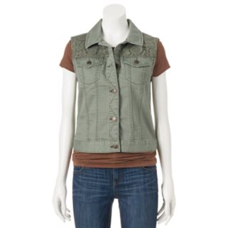 Juniors' Mudd® Crochet Yoke Denim Vest