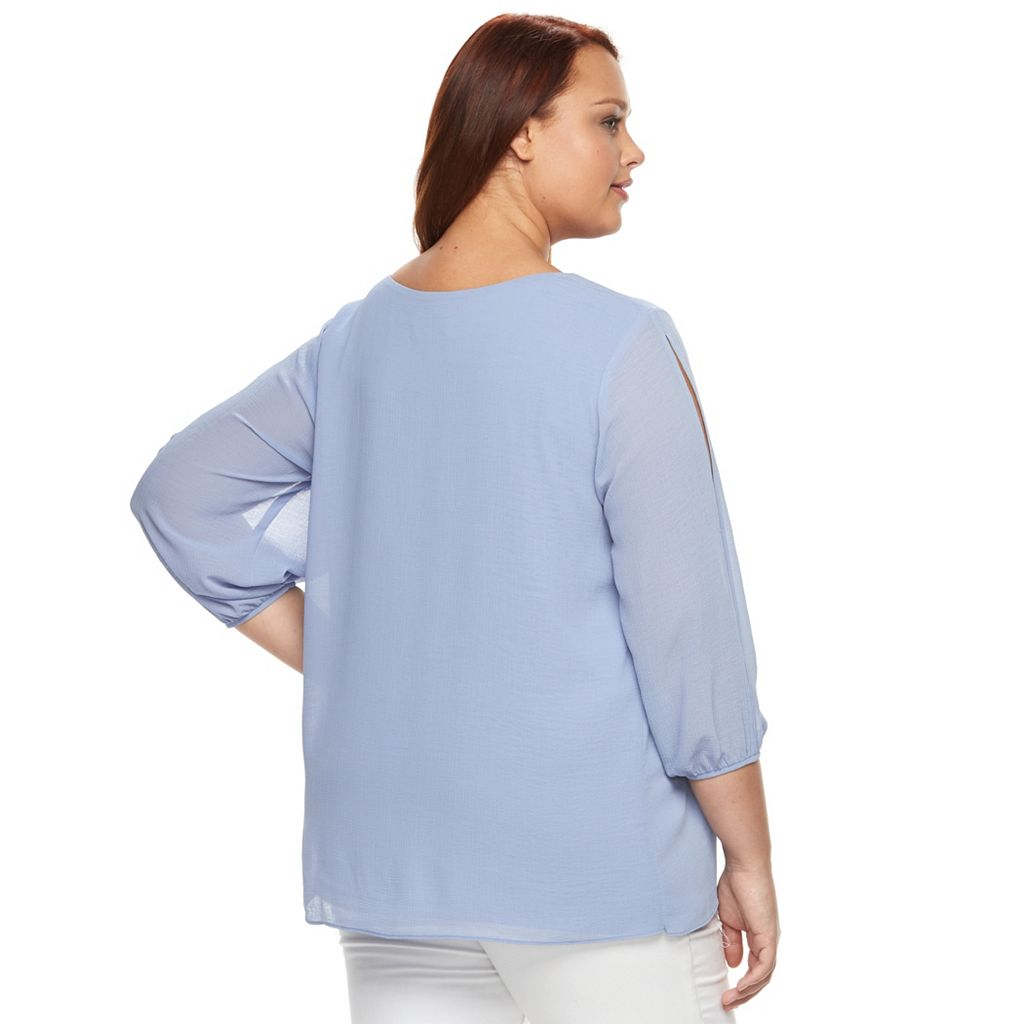 Plus Size AB Studio Pleated Gauze Top
