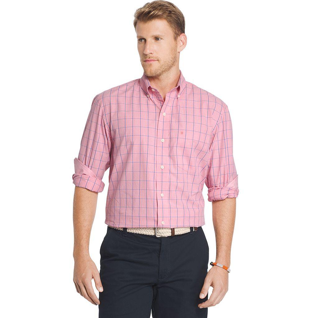 Men's IZOD Classic-Fit Windowpane Button-Down Shirt