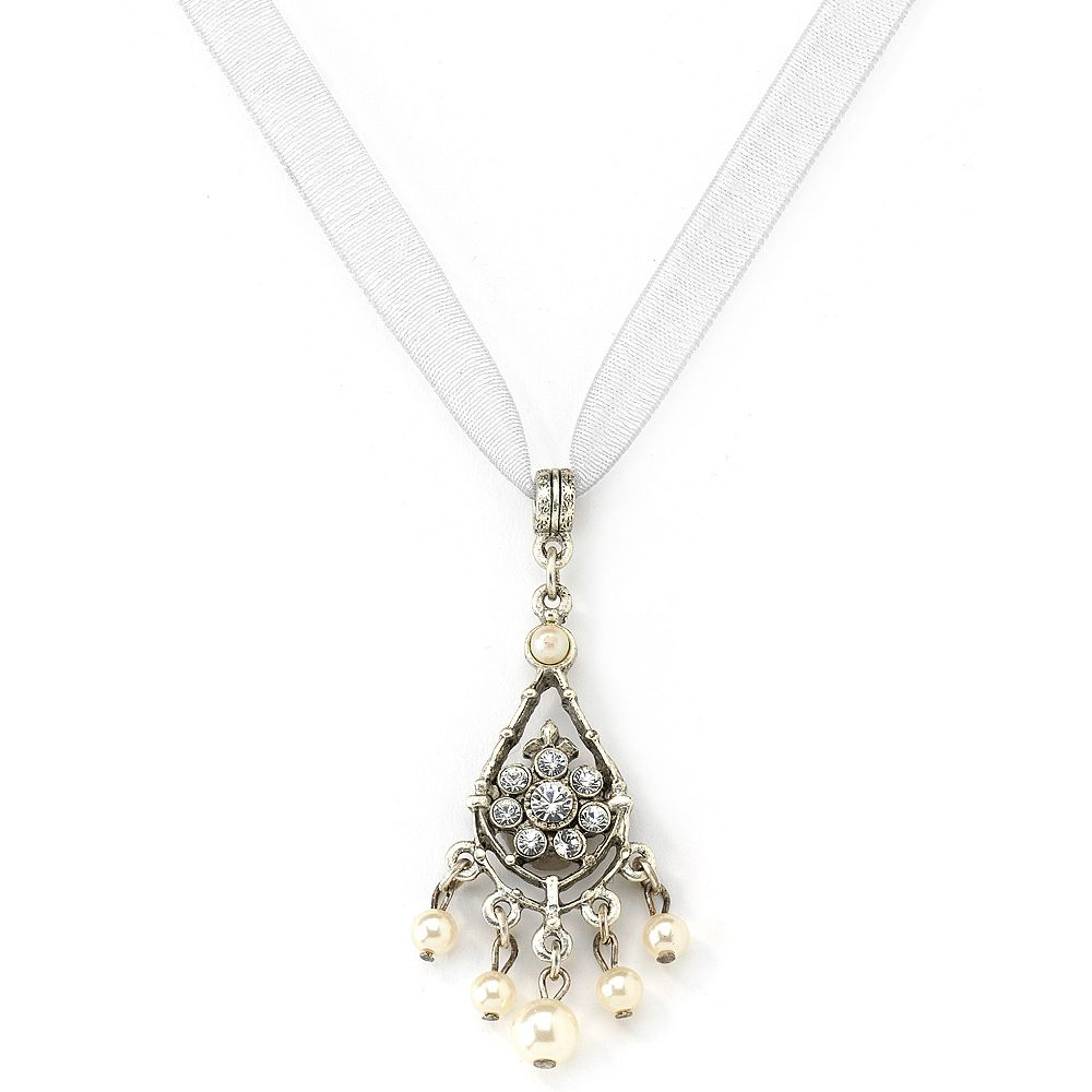 1928® Silver-Tone Simulated Crystal & Simulated Pearl Teardrop Necklace