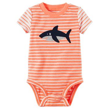 Baby Boy Carter's Striped Shark Bodysuit