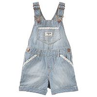 Baby Girl OshKosh B'gosh® Hickory Stripe Cuffed Denim Shortalls