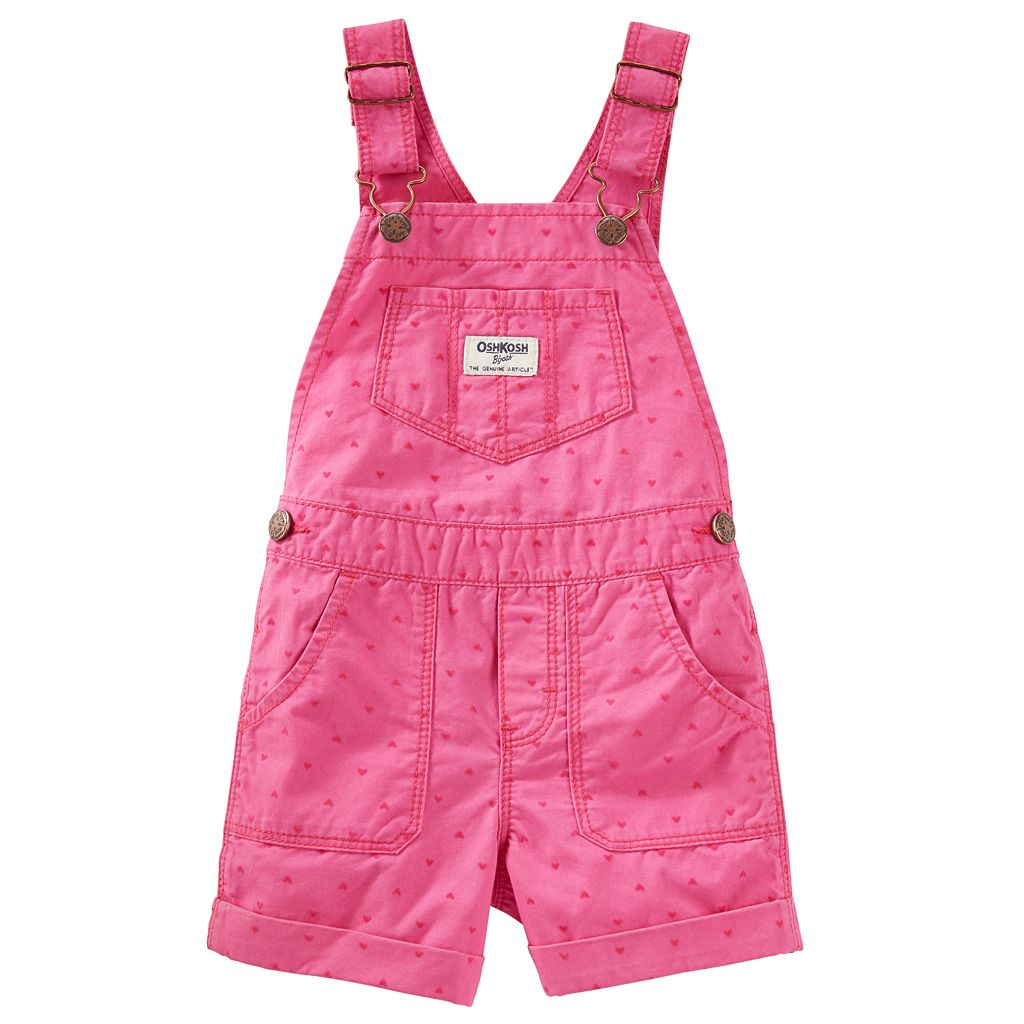 Baby Girl OshKosh B'gosh® Heart Cuffed Shortalls