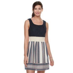 Juniors' Trixxi Lace Bodice Striped Skater Dress