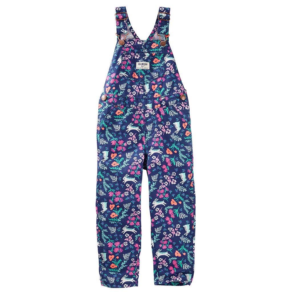 Baby Girl OshKosh B'gosh® Flower & Bunny Print Twill Overalls