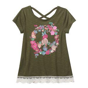 Girls 7-16 & Plus Size Mudd® Criss Cross Back Crochet Trim Graphic Tee