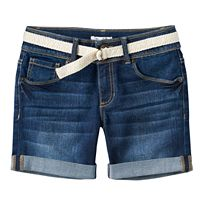 Girls 7-16 Mudd® Belted Dark Wash Midi Jean Shorts
