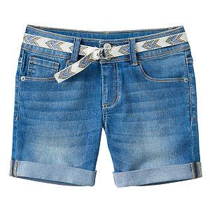 Girls 7-16 Mudd® Belted Medium Wash Midi Jean Shorts