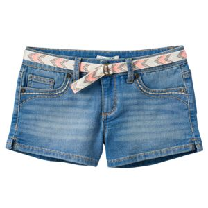 Girls 7-16 Mudd® Belted Medium Wash Jean Shortie Shorts