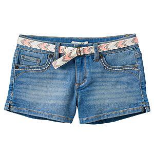 Girls 7-16 Mudd® Belted Medium Wash Jean Shortie Shorts