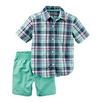 Baby Boy Carter's Plaid Airplane Shirt & Canvas Shorts Set