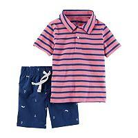 Baby Boy Carter's Striped Polo & Anchor Shorts Set