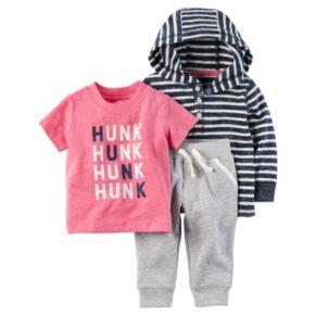 "Baby Boy Carter's 3-pc. Henley Top, ""Hunk"" Tee & Pants Set"